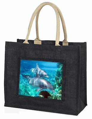 Dolphins Large Black Shopping Bag Christmas Present Idea      , AF-D3BLB