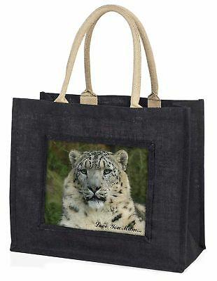 Snow Leopard 'Love You Mum' Large Black Shopping Bag Christmas Pres, AT-47lymBLB