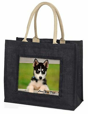 Husky Pup 'Love You Dad' Large Black Shopping Bag Christmas Present I, DAD-56BLB