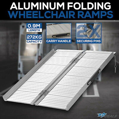 NEW 09.m 272KG Folding Wheelchair Ramp Portable Scooter Aluminium Loading Ramps