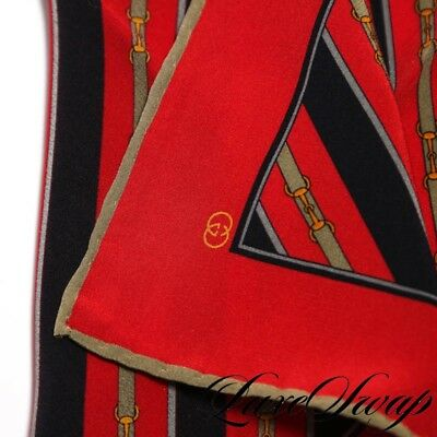 Vintage Gucci Red Green Horsebit Racing Stripe Belted Pocket Square NR LUXE ICON