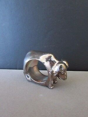 Sterling Silver Napkin Ring Hallmarked Afrisilver Bison Buffalo Bull Cow