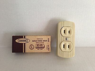 Leviton #90 Surface  Power Outlet 15A-125V Ivory HARDWARE STORE NEW OLD STOCK