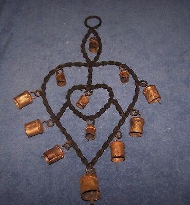 Vintage Hand Forged Primative Wrought Iron and Brass Bell Wind Chime