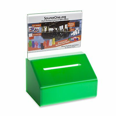 Source One GREEN Heavy Duty Small Donation / Ballot Box with Lock and Sign 5