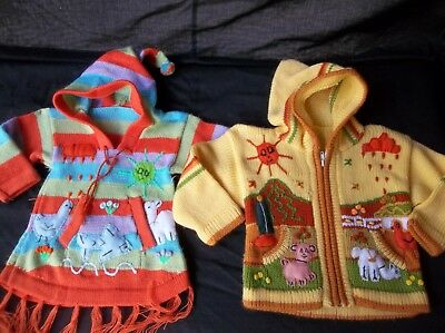 Vintage Girls Lot Sweaters Hand Embroidered Lot of 2  6 9 12 18 mos Rare Find