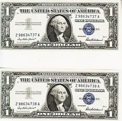 2 Consecutive . Series 1957    One Dollar Silver Certificates-Crisp Unc.