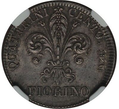 Italy / Italian States  Tuscany  1826  1 Fiorino Silver Coin Ngc Certified Ms63