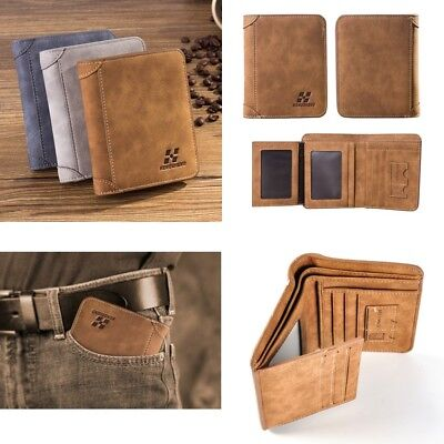 Fashion Retro Men Leather Trifold Wallet Credit/ID Card Coin Holder Slim Purse
