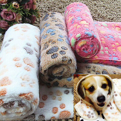 New Warm Pet Mat Small Large Paw Print Cat Dog Puppy Fleece Soft Blanket Cushion