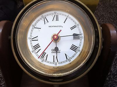 Vintage  Brass Ships bulkhead CLOCK   YACHTMASTER G.R.M  OF ENGLAND   WORKING