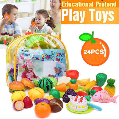 24Pcs Kids Pretend Role Play Kitchen Fruit Vegetable Food Toy Cutting Playset AU