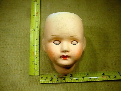 vintage Papier-Mache Doll Head age 1930 German sleeping eyes mixed media A 10223