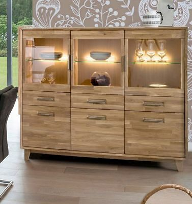 Highboard Vitrine Kommode Anrichte Massiv Eiche Bianco Geolt Woody