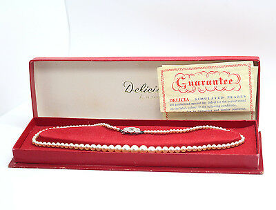 Vintage DILICIA Simulated FAUX PEARL Necklace 16inch long Boxed with Guarantee