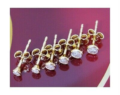 Ohrstecker 925 Sterling Silber Gold Vergoldet Damen Ohrringe Zirkonia Set 3Paar