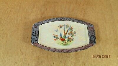 Vintage PM Moschendorf Bavaria Tray Blue Lustre Exotic Bird Dragon Fly Flowers