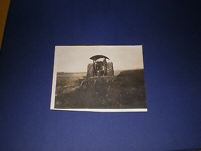 """Real Photo 3"""" x 4"""" Snapshot Steam Engine Tractor Plowing"""