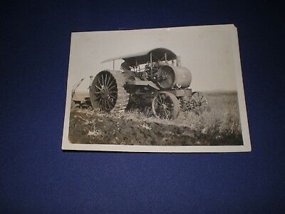 """Real Photo 3"""" x 4"""" Snapshot Steam Engine Tractor & Plow in Field"""