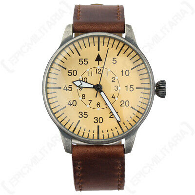 Luftwaffe ME 109 Pilot Watch - Vintage German Brown Yellow Leather Air Force New