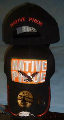 Eagle  Native Pride NDN Quailty New Embroidered Black Feather Ball Cap Hat