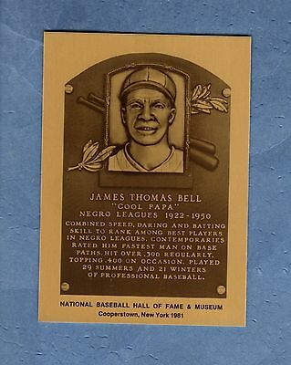 """JAMES """"COOL PAPA"""" BELL, Negro Leagues Official Hall of Fame METALLIC plaque-card"""