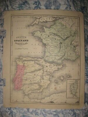 Antique 1867 France Spain Portugal Catalonia Handcolored Map W Mountain Diagram