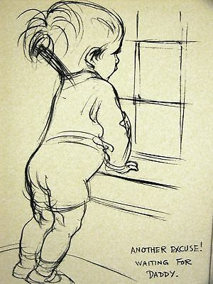 "Dowd BABY BOY ""WAITING FOR DADDY"" 1936 CHILD Art Matted"