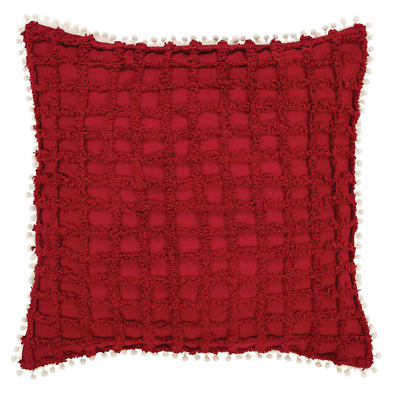 """New French Country Shabby Chic Vintage Style Red White Chenille Fring Pillow 16"""""""