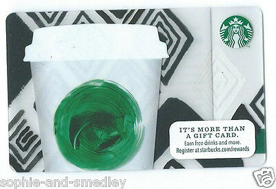 2013 Starbucks Card - Latte Cup with Green Swirl, Black & White Diamonds
