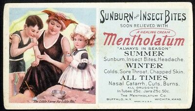 MENTHOLATUM Sunburn Insect Bites Advertising BLOTTER c 1920 Family on Beach