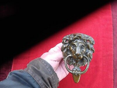 Antique Heavy Brass English Lion Door Knocker/large Well Detailed Lion Knocker
