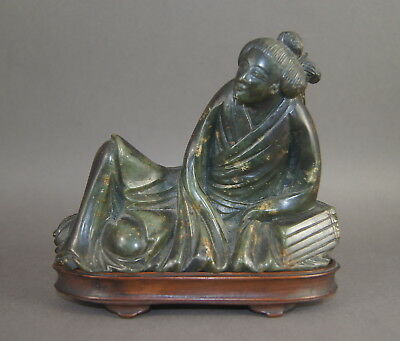 V FINE ANTIQUE CHINESE CARVED SPINACH GREEN HARDSTONE RECLINING FIGURE No Jade