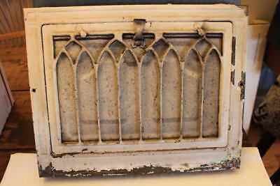 """Vintage Art Deco Metal Heater Grate 12 1/4"""" by 15""""  White Chippy Paint"""