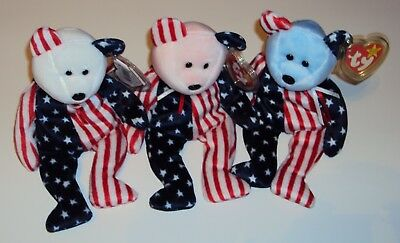 TY Beanie Babies Spangle Pink Blue and White Faces NEW with Tags Set of 3