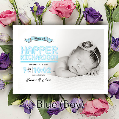 Personalised New Baby Birth Thank You Cards | Pink or Blue Photo Announcements