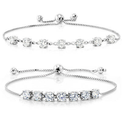925 Sterling Silver Adjustable Bracelets 2.25 ct Round White Created Moissanite