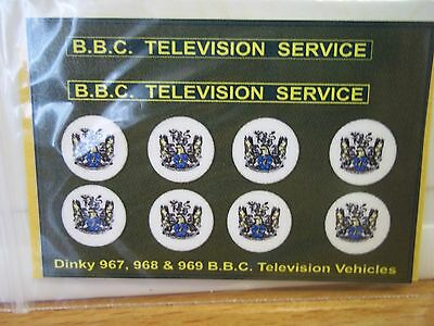 Dinky 967, 968, & 969 B.B.C. Television Vehicles stickers (BBC)