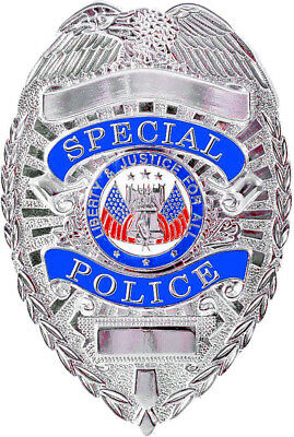 Special Police Silver Badge Novelty Shield Security Officer Agent Costume Party