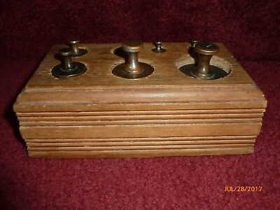 Antique or Vintage Brass Scale Weights Set in Wood Box