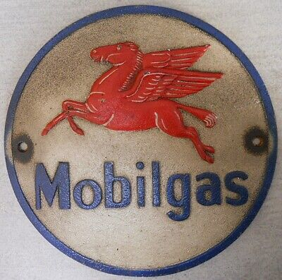 Mobilgas Mobil Pegasus oil gas station gasoline sign cast iron