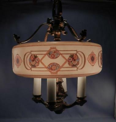 RARE~Antique~Vintage c1920 Lightolier Light~Lamp~Art Deco Brass Chandelier