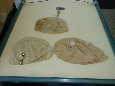Vintage Baby Bonnet Lot of 3 Infant Hats 2 WITH BUTTONS ATTACHED L3223