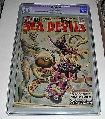 Sea Devils # 1..CGC Restored slab 4.0  VG grade--ci..1961 comic book..Tear seal