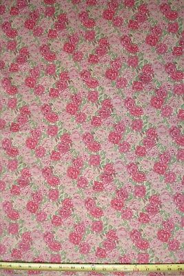 Antique Vintage style pink cabbage roses tan background 1 yd BTY Cotton Fabric