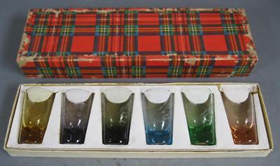 Retro/vintage 50s-60s etched harlequin licquer shot glasses set x 6 MIB