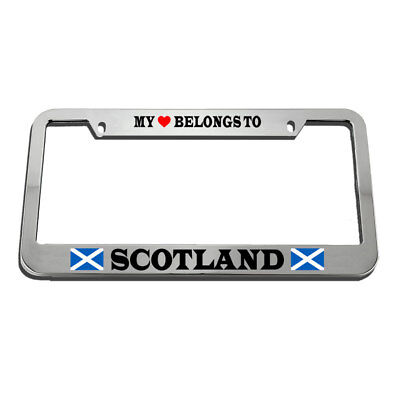 MY HEART BELONGS TO A FIREFIGHTER Chrome Heavy Duty Metal License Plate Frame
