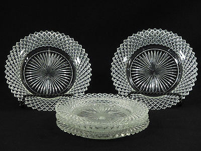 """Anchor Hocking Miss America CLEAR 5 1/2"""" BREAD & BUTTER PLATES - Set of 5"""