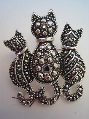 MARCASITE SILVER TONE KITTY CAT PIN BROOCH, 3 Cats