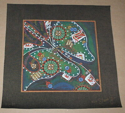 "Sharon G. ""Casino Gambling"" Handpainted Needlepoint Canvas - Jackpot, Roulette+"